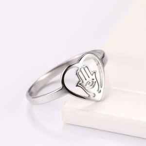 Stainless Steel Hamsa  Hand of Fatima Ring